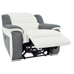 Fotel ze skóry i mikrofibry z elektrycznie regulowaną funkcją relaks ARENA II - Biały/szary