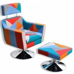 Patchworkowy fotel z podnóżkiem - Anivis