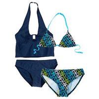 Stroje kąpielowe dziecięce, Bikini+tankini (4 części) bonprix ciemnoniebieski w pacyfki