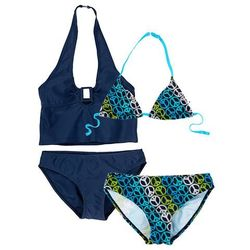 Bikini+tankini (4 części) bonprix ciemnoniebieski w pacyfki