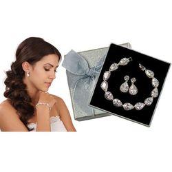Kpl884 komplet ślubny, biżuteria ślubna z cyrkoniami b599/425 k599/545