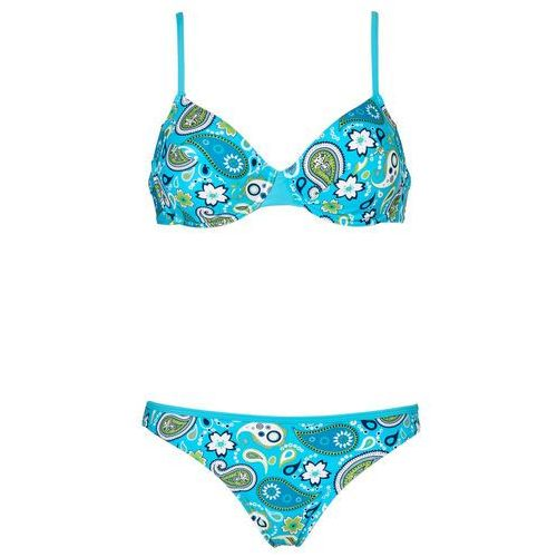Stroje kąpielowe, Bikini na fiszbinach (2 części) bonprix turkusowo-biały