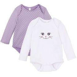Body niemowlęce z długim rękawem (2 szt.), bawełna organiczna bonprix kolor bzu - biały w kropki