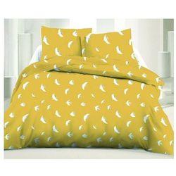 Pościel 100% bawełny SUNNY - 220x240 cm + 2 poszewki na poduszkę 65 x 65 - Kolor żółty i biały