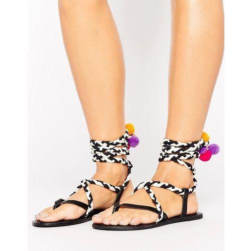 Pozostałe obuwie damskie, ASOS FAMILIAR Rope Pom Pom Leather Sandals - Multi