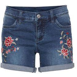Szorty dżinsowe z haftem bonprix niebieski