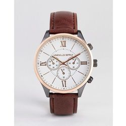 ASOS DESIGN watch in rose gold mixed metal finish with brown croc strap - Brown