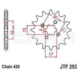 Zębatka przednia JT F253-17, 17Z, rozmiar 420 2200993 Honda Z 50, XR 70, NSR 50