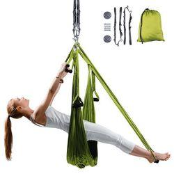 Antygrawitacyjny hamak do jogi inSPORTline Hemmok zielony + pasy, wsporniki sufitowe i śruby mocujące