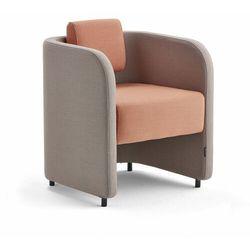 Fotel COMFY, na nóżkach, wełna, srebrnoszary/łososiowy