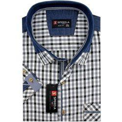 Koszula Męska Speed.A czarna w kratkę z dodatkami jeans SLIM FIT na krótki rękaw K723