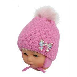 Zimowa czapka niemowlęca z szalikiem, podszyta polarem, rozmiar: 6 miesięcy - 1,5 roku