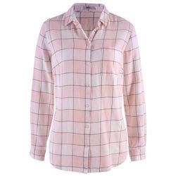 Koszula flanelowa bonprix pastelowy jasnoróżowy - biel wełny - szary w kratę