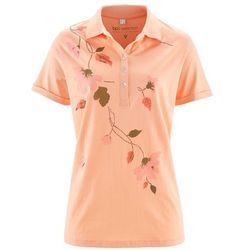 Shirt polo bonprix brzoskwiniowo-łososiowy z nadrukiem