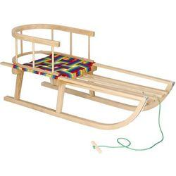 Sanki dla dzieci z oparciem drewniane, pasy materiałowe