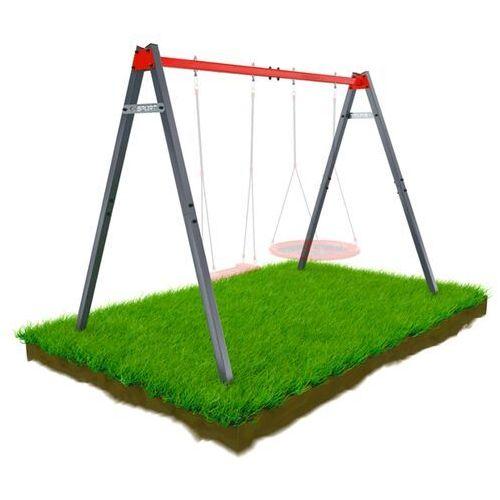 Huśtawki ogrodowe dla dzieci, Huśtawka Ogrodowa STELAŻ podwójny mieszczący Bocianie gniazdo i huśtawkę KSOZ0015