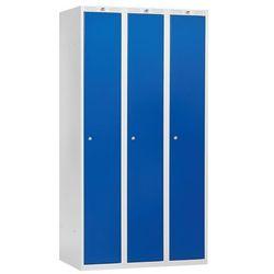 Szafa ubraniowa CLASSIC, 3 moduły, 1740x1200x550 mm, niebieski