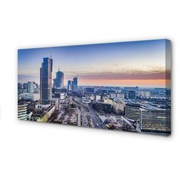 Obrazy na płótnie Warszawa Panorama wieżowce wschód słońca