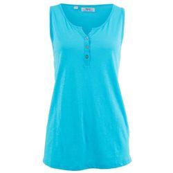 Shirt bawełniany z przędzy mieszankowej, bez rękawów bonprix jasny niebieski
