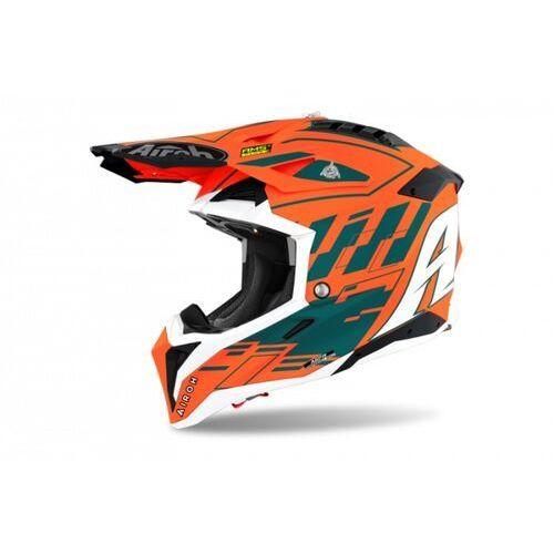 Kaski motocyklowe, Airoh kask off-road aviator 3 rampage orange gloss