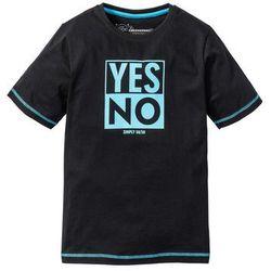 Shirt z nadrukiem i kontrastowymi szwami bonprix czarny