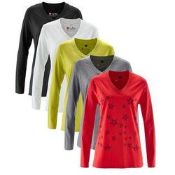 Długi shirt z dekoltem w serek (5 szt.), długi rękaw bonprix truskawkowy z nadrukiem + biały + szary melanż + czarny + pistacjowy