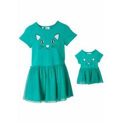 Sukienka dziewczęca + sukienka dla lalki (2 części) bonprix różowy hibiskus