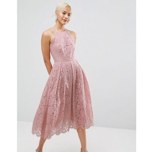 Suknie i sukienki, ASOS Lace Pinny Scallop Edge Prom Midi Dress - Pink