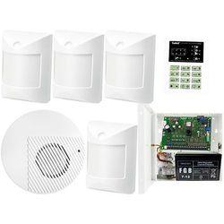 Zestaw alarmowy: Płyta główna CA-6 P,Manipulator CA-6 KLED-S, 4x Czujka wewnętrzne Amber, Sygnalizator Wewn., Akcesoria