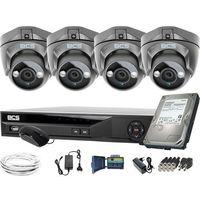 Pozostałe systemy alarmowe, ZM11950 4 kamery zewnętrzne wewnętrzne BCS-DMQE1500IR3-G BCS-XVR04014KE-II 1TB
