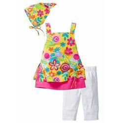 Sukienka dziewczęca + legginsy + chustka na głowę (3 części) bonprix jasna limonka - jasna fuksja - biały
