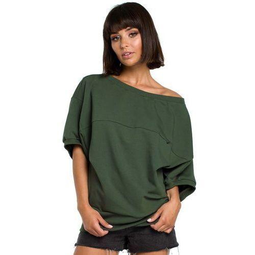 Bluzki, Zielona Bluzka z Zakładanym Kopertowo Ściągaczem