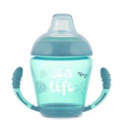 Canpol babies kubek niekapek z silikonowym smoczkiem 230 ml Sea Life, szary