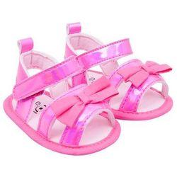 Sandałki dziewczęce błyszczące z kokardką różowe 0-6 miesięcy