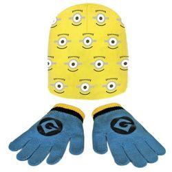 Komplet czapka jesienna / zimowa i rękawiczki Minionki
