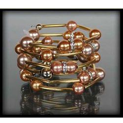 Złota bransoletka z pereł w dwóch kolorach - złoty ||różowy