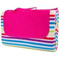 Koce i pledy, Składany koc piknikowy inSPORTline 130x180 cm wodoodporny, Z różowym paskiem