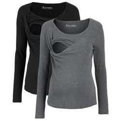 Shirt ciążowy i do karmienia, długi rękaw (2 szt.) bonprix czarny + szary melanż