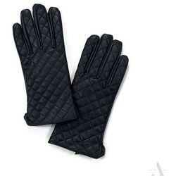 Pikowane czarne rękawiczki damskie w stylu GLAMOUR