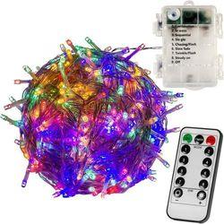 WIELOKOLOROWE LAMPKI CHOINKOWE 100 LED NA BATERIE + PILOT - Mix kolorów