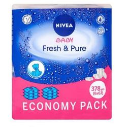 NIVEA 6x63szt Baby Fresh&Pure Chusteczki nawilżane dla dzieci i niemowląt