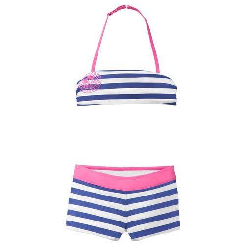 Stroje kąpielowe dziecięce, Bikini dziewczęce (2 części) bonprix szafirowo-biały w paski