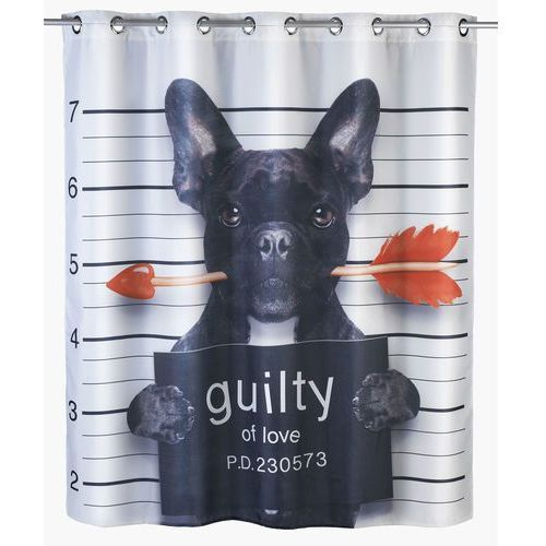 Zasłona prysznicowa guilty dog, tekstylna, 180x200 cm, marki Wenko