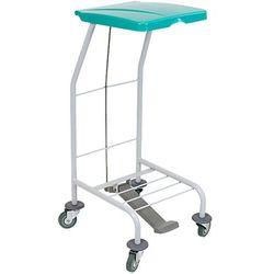 Wózek na odpady pojedynczy z pokrywą zieloną otwieraną przyciskiem pedałowym Wózek na śmieci, Wózek na odpady medyczne