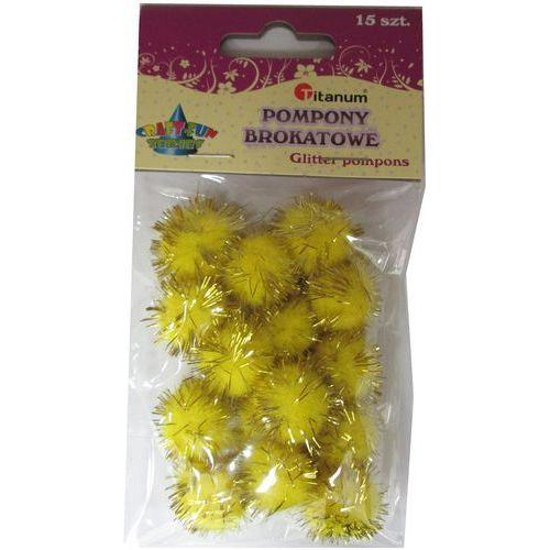 Kreatywne dla dzieci, Pompon brokatowy żółty. 15 sztuk. 338545. - Titanum
