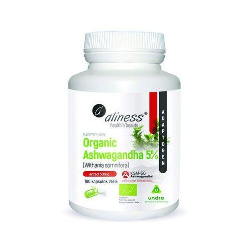 Preparaty ziołowe, Organiczna ashwagandha 5% Organic ashwagandha Withania somnifera KSM-66 100 kapsułek Aliness