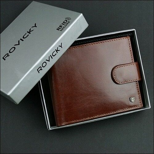 Portfele i portmonetki, Portfel męski skórzany rfid rovicky brązowy
