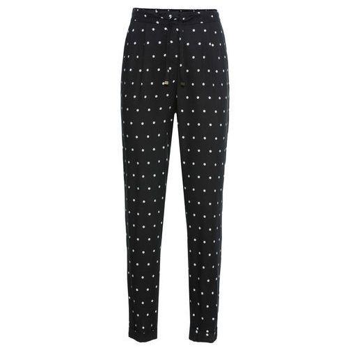 Spodnie damskie, Spodnie Loose Fit bonprix czarno-biały w kropki