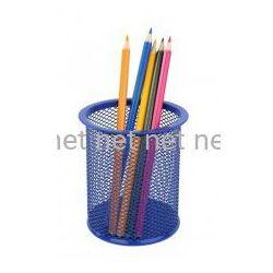Kubek okrągły Net - pojemnik na długopisy niebieski