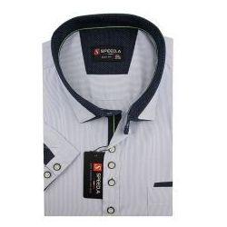 Koszula Męska Speed.A błekitna w białe paski na krótki rękaw duże rozmiary K696